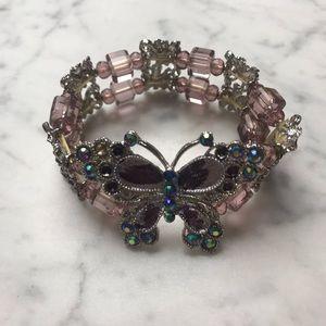 Butterfly Purple Blue Rhinestone Stretchy Bracelet